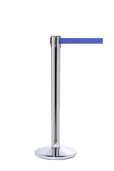 QueuePro 300 Premium Long-Span 16ft Retractable Belt Barrier, Polished Stainless Stanchion Post, QueueSolutions PRO300PS-BK