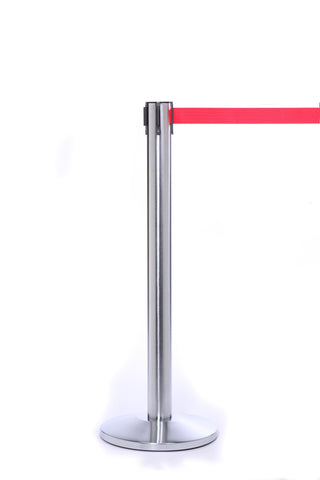 QueuePro300 Satin Brushed Stainless Steel Retractable Belt Stanchion