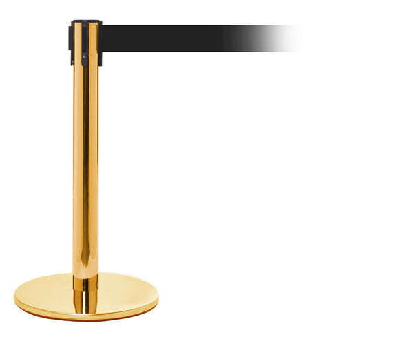PRO200 Exhibition Height Retractable Belt Barrier, Polished Brass Stanchion Post, 11ft Belt, QueueSolutions PROMini250PB-BK