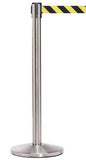 QueueMaster 550 8.5ft Retractable Belt Barrier, Black Stanchion Post, QueueSolutions QM550B-BK