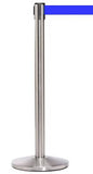 QueueMaster Pro Grade Economy 11ft Retractable Belt Barrier, Satin Stainless Stanchion Post, QueueSolutions QM550SS-BK110