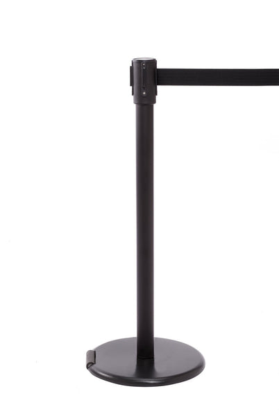 RollerPro 200 Thin-Line Wheeled Retractable Belt Stanchion - Black