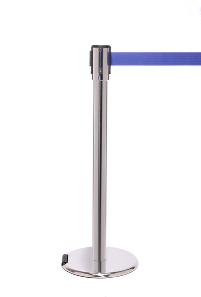 RollerPro200 E-Z Roll Wheeled Retractable Belt Stanchion - Satin Steel