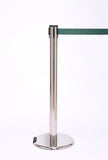 RollerPro250 E-Z Roll Wheeled Retractable Belt Barrier, Polished Stainless Stanchion Post, QueueSolutions ROL250PS-BK