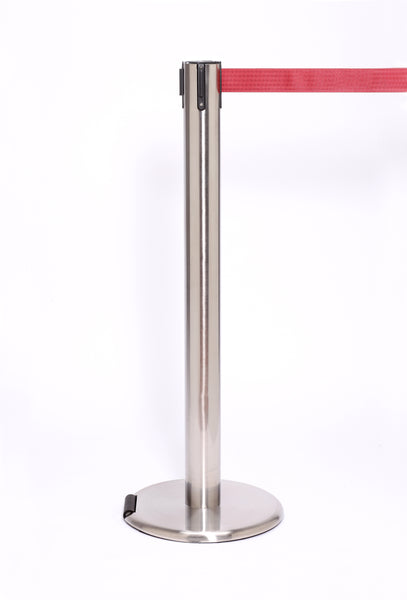 RollerPro300 E-Z Roll Wheeled Retractable Belt Stanchion, Satin Stanchion Post, QueueSolutions ROL300SS-BK