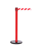 RollerSafety 250 E-Z Roll Wheeled Retractable Belt Barrier, Red Stanchion Post, QueueSolutions SROL250R-BK
