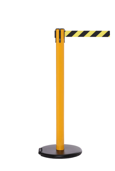 RollerSafety 250 E-Z Roll Wheeled Retractable Belt Barrier, Yellow Stanchion Post, QueueSolutions SROL250Y-BK
