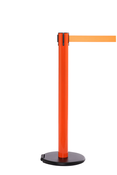 RollerSafety 300 E-Z Roll Wheeled Retractable Belt Barrier, Orange Stanchion Post, QueueSolutions SROL300O-BK160
