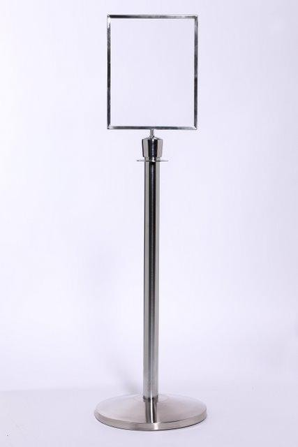 Heavy Duty Veritcal Sign Frame Topper For Rope Post Stanchions Queuesolutions Sfr711vb