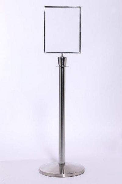 Heavy-Duty Veritcal Sign Frame Topper For Rope & Post Stanchions, QueueSolutions SFR711VB