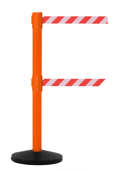 SafetyMaster Twin 13' Dual-Belt Retractable Safety Barrier - Orange