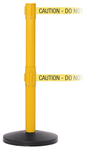 SafetyMasterTwin 11ft Dual-Belt ADA Compliant Retractable Belt Barrier, Yellow Stanchion Post, QueueSolutions SMTwin450Y-BK110