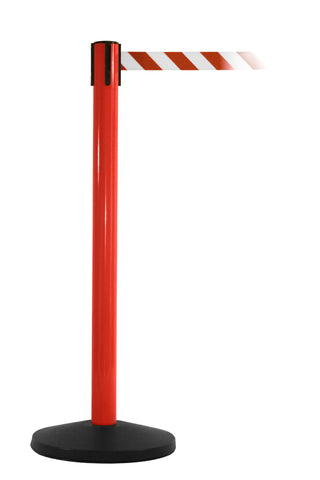 SafetyMaster Red Retractable Belt Safety Stanchion 8.5 Foot Belt