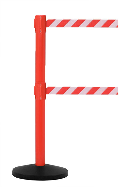 SafetyMasterTwin 13' Dual-Belt ADA Compliant Retractable Post - Red