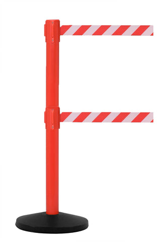 Safetymaster Twin 8.5 or 11 Foot Retractable Dual Belt Stanchion Red