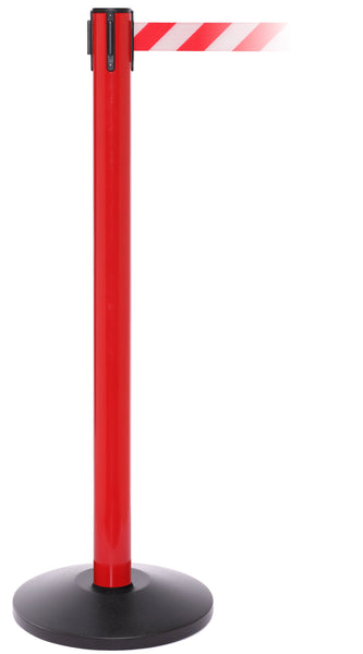 SafetyPro 250 Industrial-Tough Retractable Belt Barrier, Red Stanchion Post, QueueSolutions SPRO250R-BK