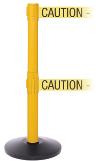 SafetyPro Twin Xtra Industrial-Tough Retractable Belt Barrier, Yellow Stanchion Post, QueueSolutions SPROTwin250Y-X-BK110