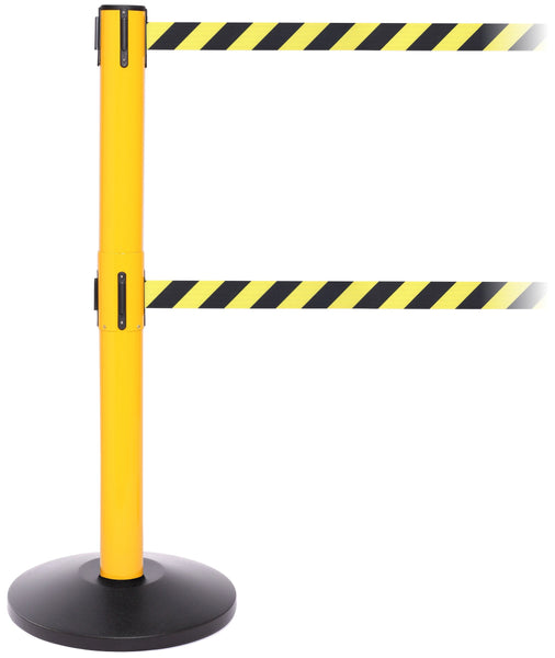 SafetyPro Twin 300 Industrial-Tough Retractable Belt Barrier - Yellow