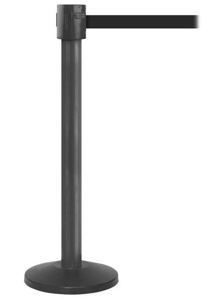 SafetyPro 335 Industrial-Tough 20ft Retractable Belt Barrier, Black Stanchion Post, QueueSolutions SPRO335B-BK20