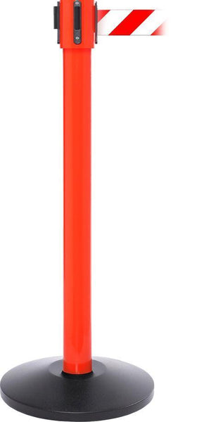 SafetyPro 335 Industrial-Tough 30ft Retractable Belt Stanchion, Red Stanchion Post, QueueSolutions SPRO335R-BK30