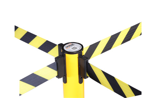 4 Way Belt Connection SafetyPro 250 Yellow Industrial Safety Retractable Caution Tape Stanchion