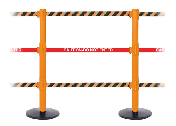 SafetyPro Triple-Belt Industrial-Tough Retractable Belt Barrier, Orange Stanchion Post, QueueSolutions SPROTriple250O-BK