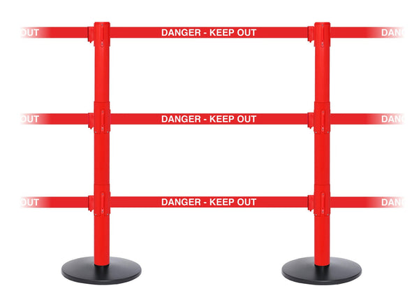 SafetyPro Triple Industrial-Tough Retractable 3 Belt Stanchion - Red