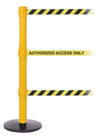 SafetyPro Triple-Belt Industrial-Tough Retractable Belt Barrier, Yellow Stanchion Post, QueueSolutions SPROTriple250Y-BK
