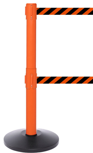 SafetyPro Twin 300 Industrial-Tough Retractable Belt Barrier - Orange