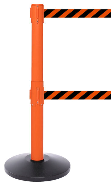 SafetyPro Twin Industrial-Tough Dual-Belt Retractable Belt Barrier, Orange Stanchion Post, QueueSolutions SPROTwin250O-BK