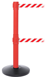 SafetyPro Twin Industrial-Tough Dual-Belt Retractable Belt Barrier, Red Stanchion Post, QueueSolutions SPROTwin250R-BK