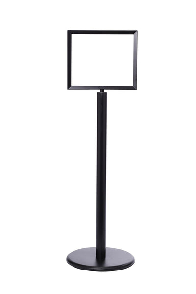 "Black 14"" x 11"" - Heavy-Duty Pedestal Sign Stand w/Horizontal Poster Display Frame"