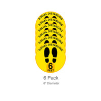 Social Distance Floor Decals, 6 Pack Safety Markers, QueueSolutions FLRDEC-SD6