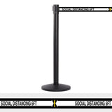 QueueMaster Retractable Belt Barrier, Black Stanchion Post, 13ft Belt w Social Distancing 6ft Marks, QueueSolutions QM550B-SD130