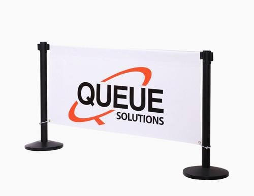 Custom Printed Vinyl Stanchion Banner on Banner Beam Between Two Standard Belt Stanchions