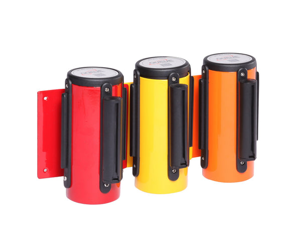 WallMaster 3in Xtra Wide 10ft Wall Mount Retractable Belt Barrier Red Orange Yellow, QueueSolutions WM300Y-X-BK100