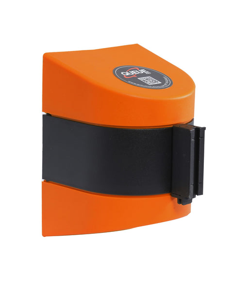 WallPro 450 Wall Mount Retractable 30ft Belt Barrier Red or Orange, QueueSolutions WP450R-BK300