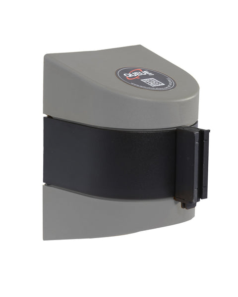WallPro 450 Wall Mount Retractable 20ft Belt Barrier Gray or White, QueueSolutions WP450SR-BK200