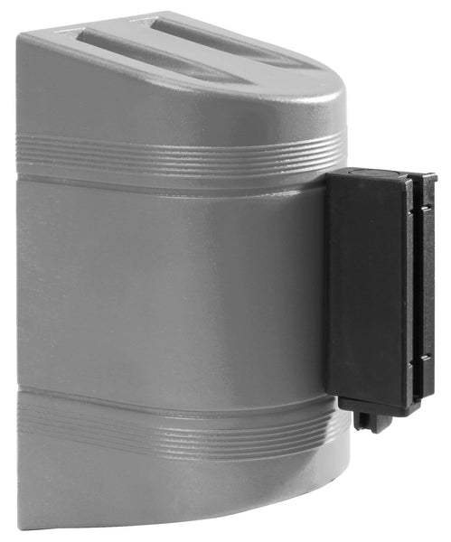 WallPro 300 Wall Mount Retractable 7.5ft Belt Barrier Gray or White, QueueSolutions WP300SR-BK75