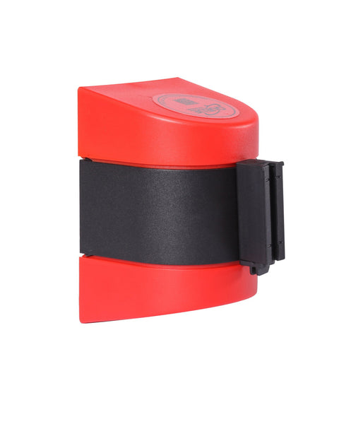 WallPro 400 Magnetic Wall Mount 15ft Belt Barrier Red or Orange, QueueSolutions M-WP400R-BK150
