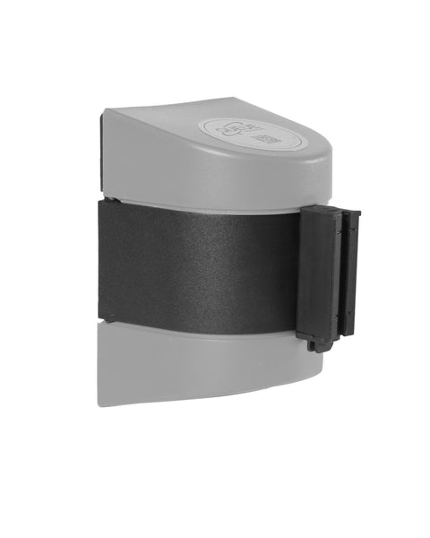WallPro 400 Magnetic Wall Mount 15ft Belt Barrier Gray or White, QueueSolutions M-WP400SR-BK150
