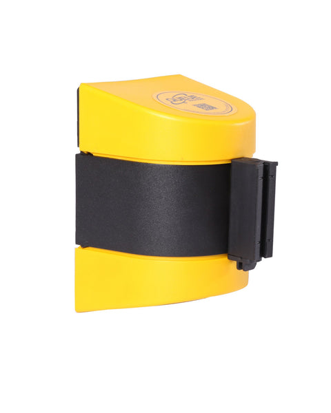 WallPro 400 Magnetic Wall Mount Retractable 15ft Belt Barrier Yellow or Black, QueueSolutions M-WP400B-BK150