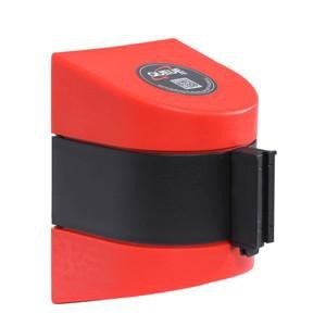 WallPro 450 Wall Mount Retractable 20ft Belt Barrier Red or Orange, QueueSolutions WP450R-BK200