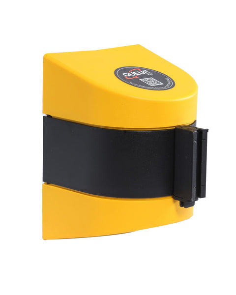 WallPro 450 Wall Mount Retractable 20ft Belt Barrier Yellow or Black, QueueSolutions WP450B-BK200