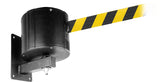 WP750 Weatherproof 55ft or 75ft Long-Span Wall Mount Outdoor Retractable Belt Barrier, QueueSolutions WP750-BK55
