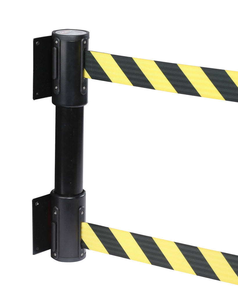 wallmaster twin black housing 13 foot retractable double belt unit pro stanchions