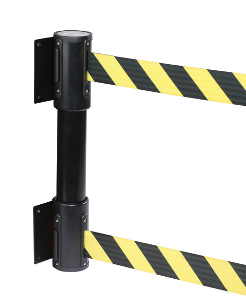 WallMaster Twin 400 Dual-Belt Wall Mount 13ft Retractable Belt Barrier, QueueSolutions WPTwinB-BK130