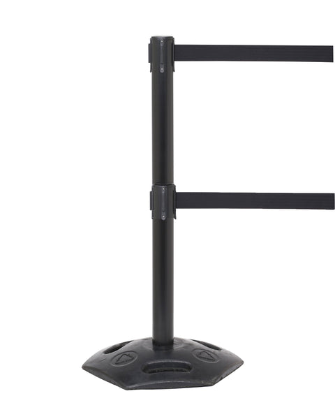 WeatherMaster Twin 250 Dual Belt Outdoor Black Post w/Rubber Base