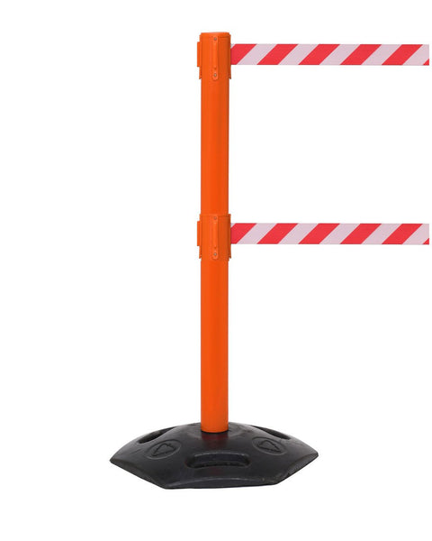 WeatherMaster Twin 250 Dual-Belt Extreme-Duty Outdoor Retractable Belt Barrier, Orange Stanchion Post, QueueSolutions WMRTwin250O-BK