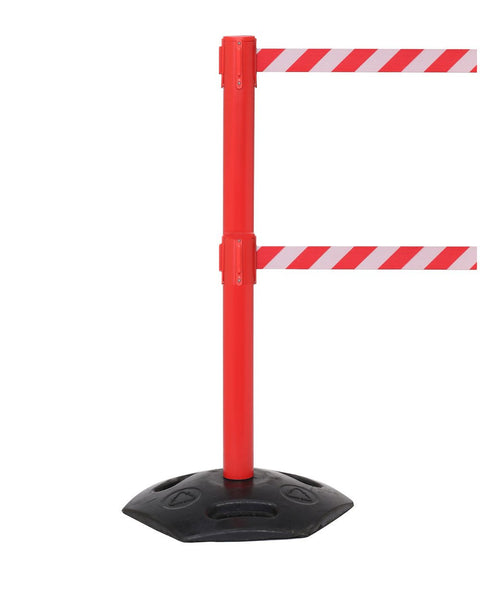 Outdoor Stanchions - WeatherMaster Twin 250 Red | Queue Solutions